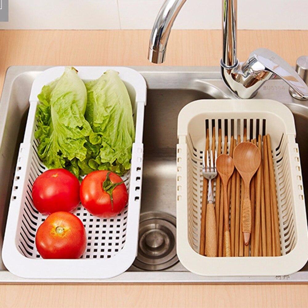 Escurridor de platos ajustable fregadero telescópico cesta de lavado de frutas de vegetales estante de secado de plástico organizador de accesorios de cocina