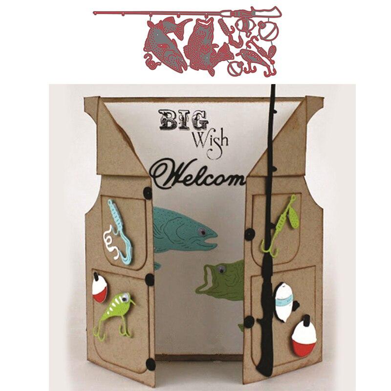 Juego de Herramientas de pesca, peces de anzuelo, troqueles de corte de Metal de alta calidad para álbum de recortes DIY, manualidades decorativas para tarjetas troqueles de corte