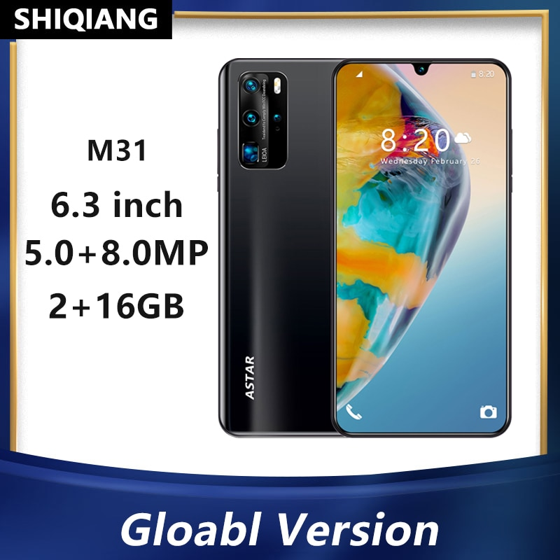 SOYES M31 Android Mobile Phones 2+16GB Fingerprint&Face Unlock Smartphone 6.3 Inch 5+8MP 2 SIM Card Quad Core Cell phone 5600mAh