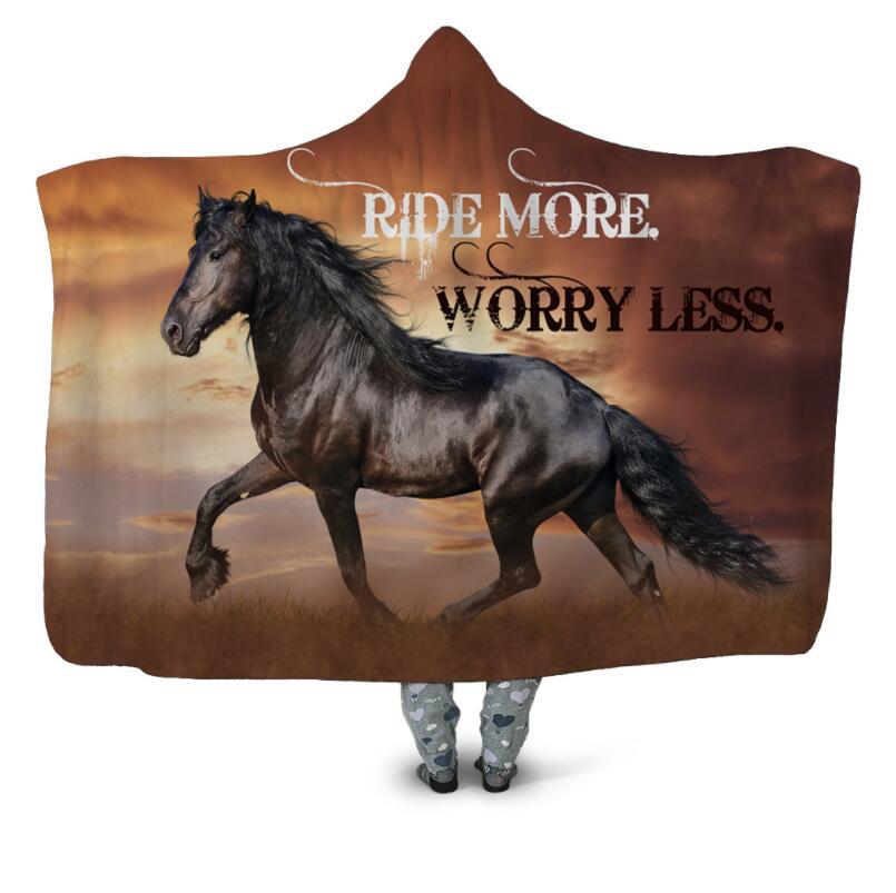 Alant Horse-بطانية بغطاء للرأس مطبوعة ثلاثية الأبعاد ، سرير من الصوف الدافئ يمكن ارتداؤها ، ألحفة مكتب ناعمة للبالغين ، سفر 08