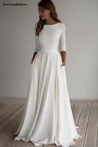 Simple Satin Wedding Dresses 2020 Pockets 3/4 Long Sleeve A line Beach Bride Gowns  Vestido De Noiva Do Mariee