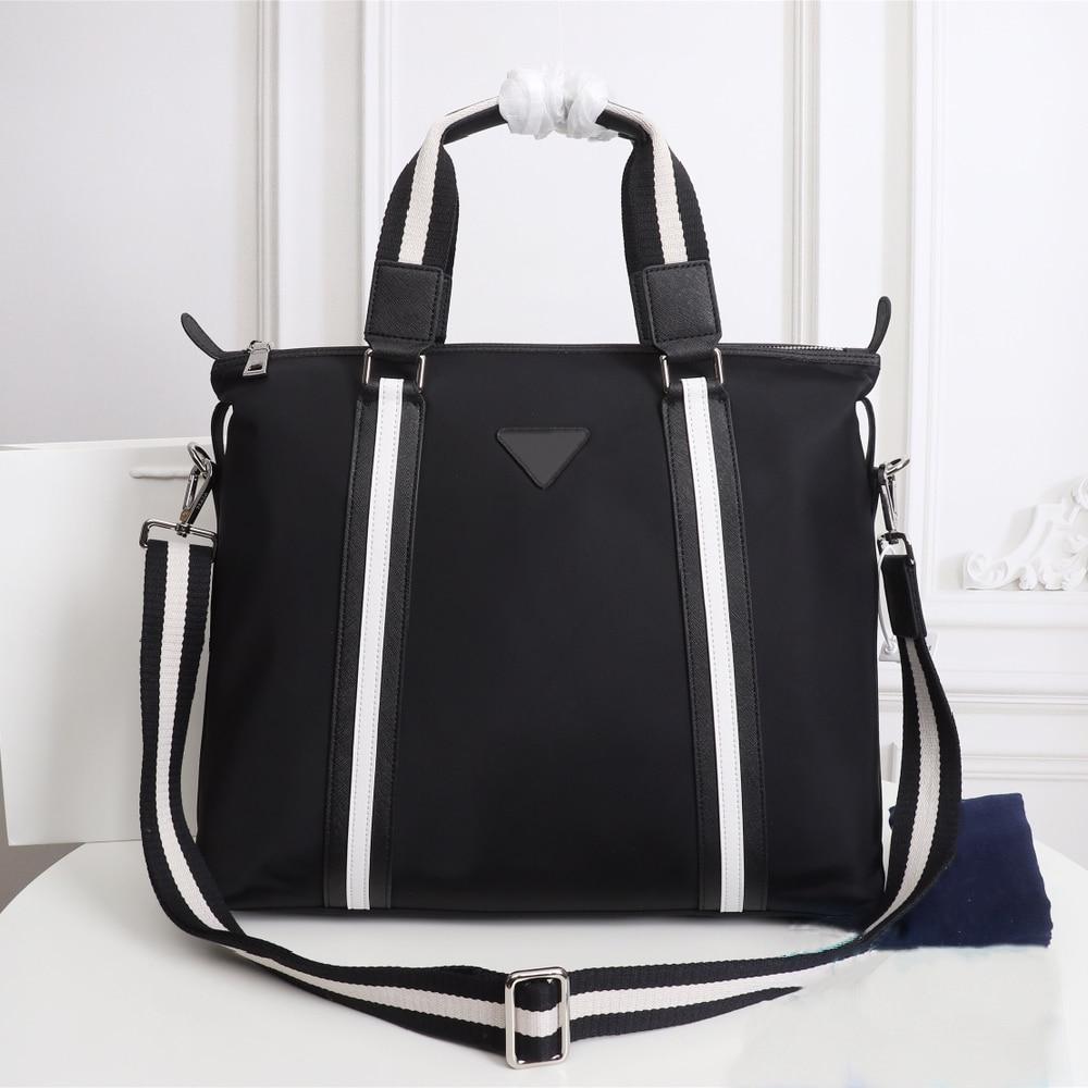 Men's black nylon canvas with leather travel bag, leisure all-match travel bag, large-capacity waterproof handbag