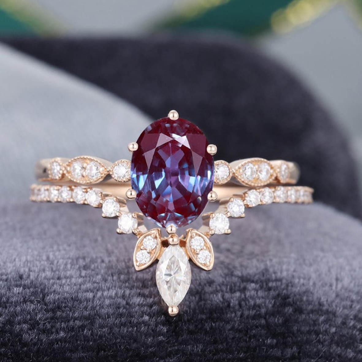 925 Sterling Silver CZ Dainty Jewelry Alexandrite Ring Set Alexandrite Wedding Rings