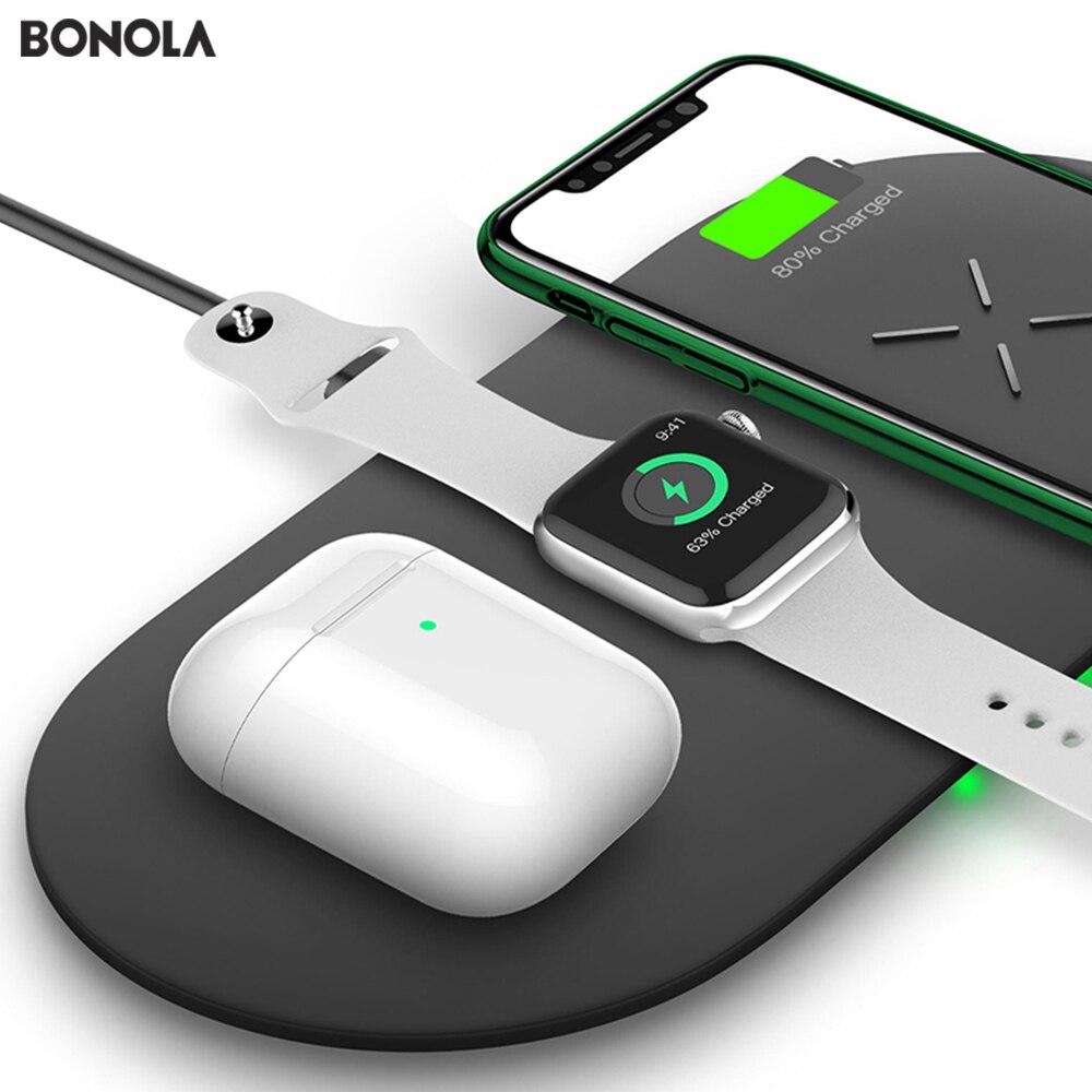 Bonola 3 en 1 almohadilla de carga inalámbrica para iPhone 11Pro/11/XAR/XsMax cargador Dock para Apple Watch 5 cargador inalámbrico para AirPods Pro