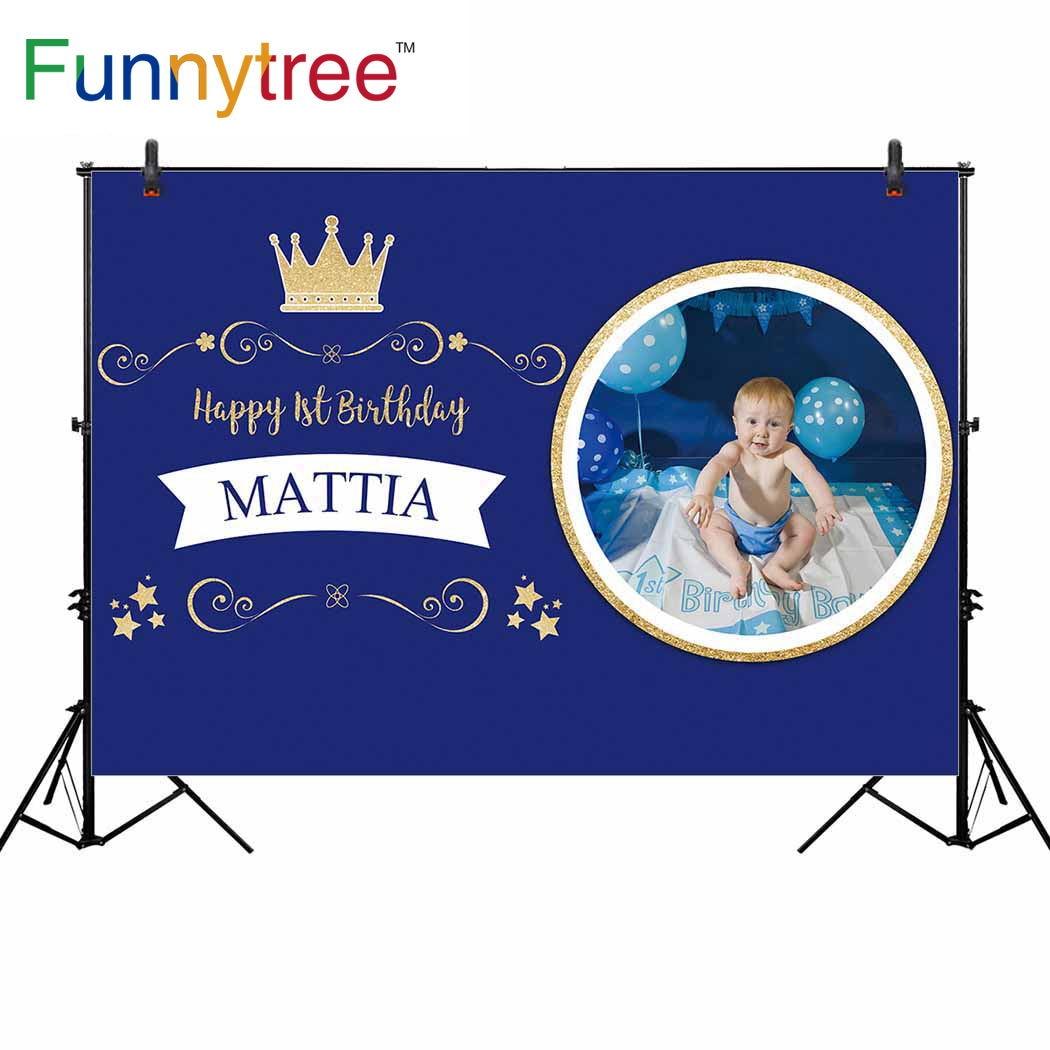 Funnytree fotografia pano de fundo pequeno príncipe 1st aniversário festa de ouro coroa menino estrela fundo personalizado photophone azul photozone