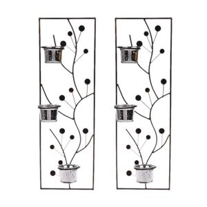 2pcs Metal Iron Candlestick Hanging Wall Sconce Candle Holder Wedding Home Decor