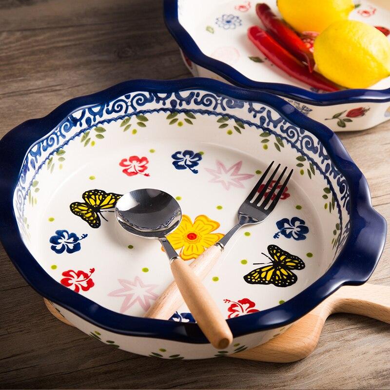 لوحة 9 بوصة بيتزا الجبن خبز الأرز طبق السيراميك أطباق فاكهه غرفة المعيشة الإبداعية الأوروبية المنزلية شخصية مموج الدانتيل