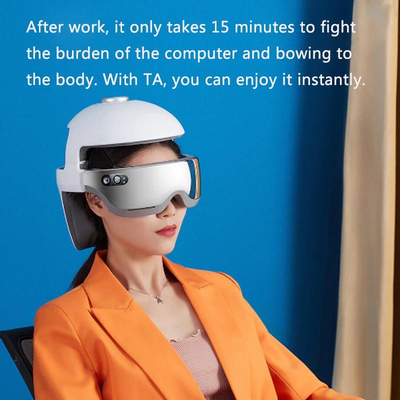 YouPin Smart Electric Neck Head Eyes Heating Massage Helmet Massager Scalp Relaxation Stimulator Music Pressure Vibration