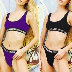 2019 novo maiô feminino biquinis feminino das mulheres swim wear motor biquíni carta tankinis thong