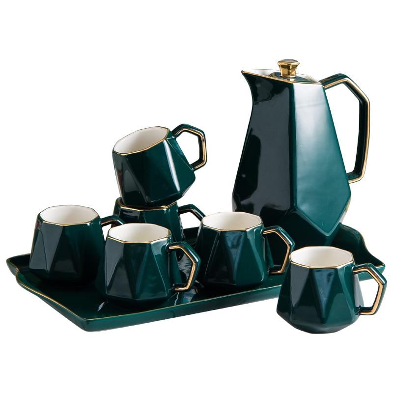 السيراميك طقم شاي القهوة بنوم بنه متعدد الألوان بعد الظهر براد شاي صينية أكواب مجموعة شمال أوروبا المنزل المطبخ الديكور الحلي