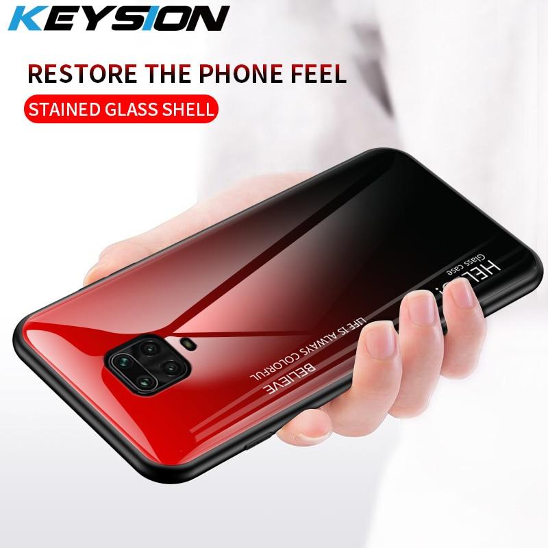 Keysion capa de vidro temperado gradiente, para xiaomi redmi note 9 pro max, capa traseira protetora 9s 9
