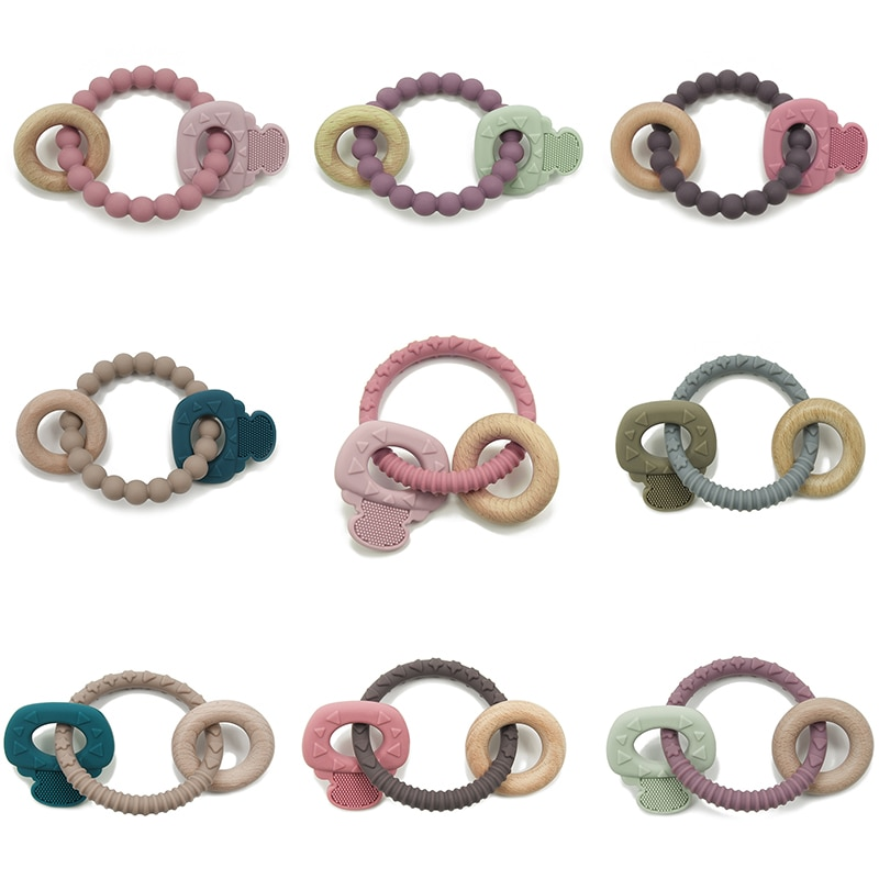 New Listing Key Wood Teether Baby Silicone Bite Le Baby Molar Stick Baby Anti-eat Hand Artifact Teether