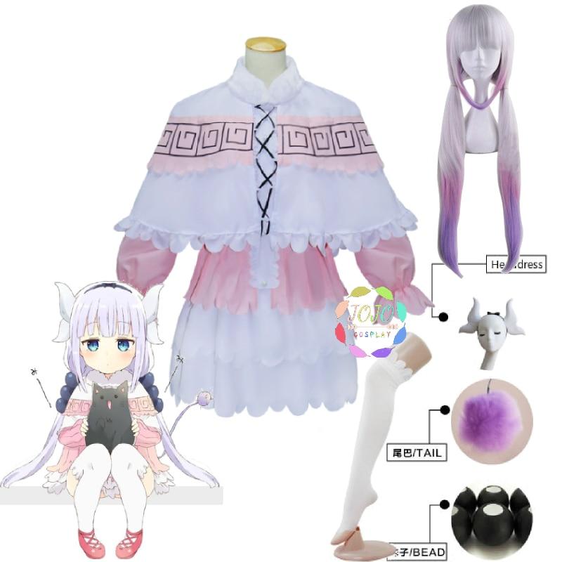 Disfraz de Cosplay de la señorita Kobayashi, sirvienta de dragón Kamui Kanna, camisa Lolita, falda, capa, vestido, conjunto de Halloween, Carnaval, peluca larga, tocado