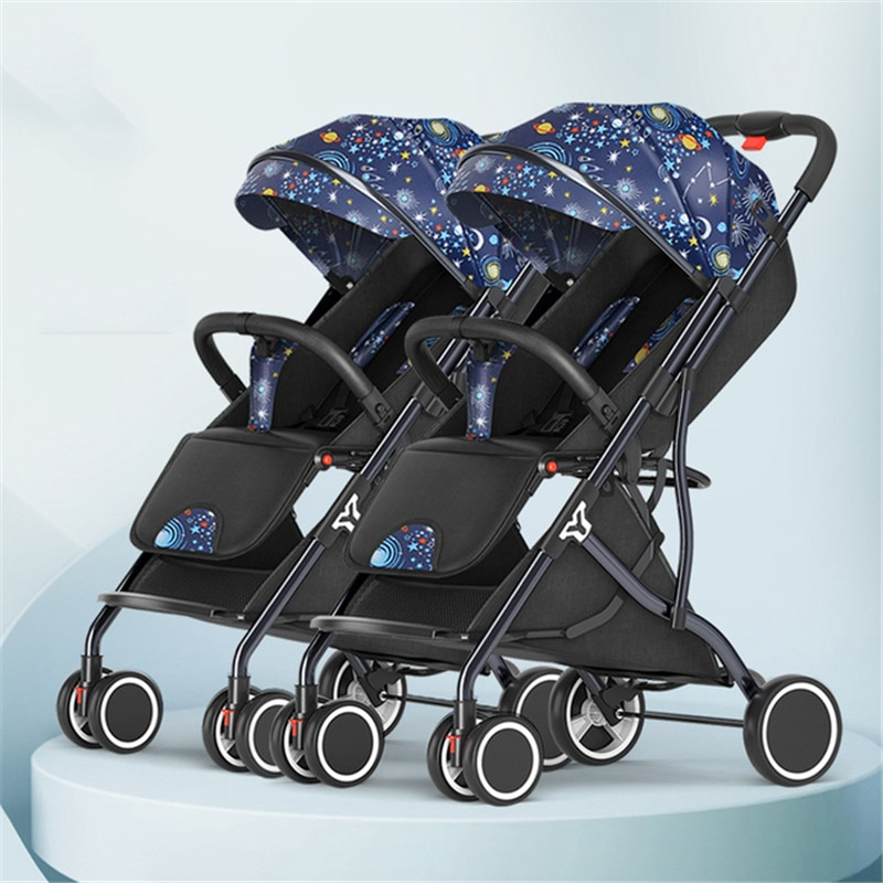 BETSOCCI Twin Baby Multi-feet Stroller  Lightweight Foldable Double  Seated,Reclined And Detachable Second Multiple birth