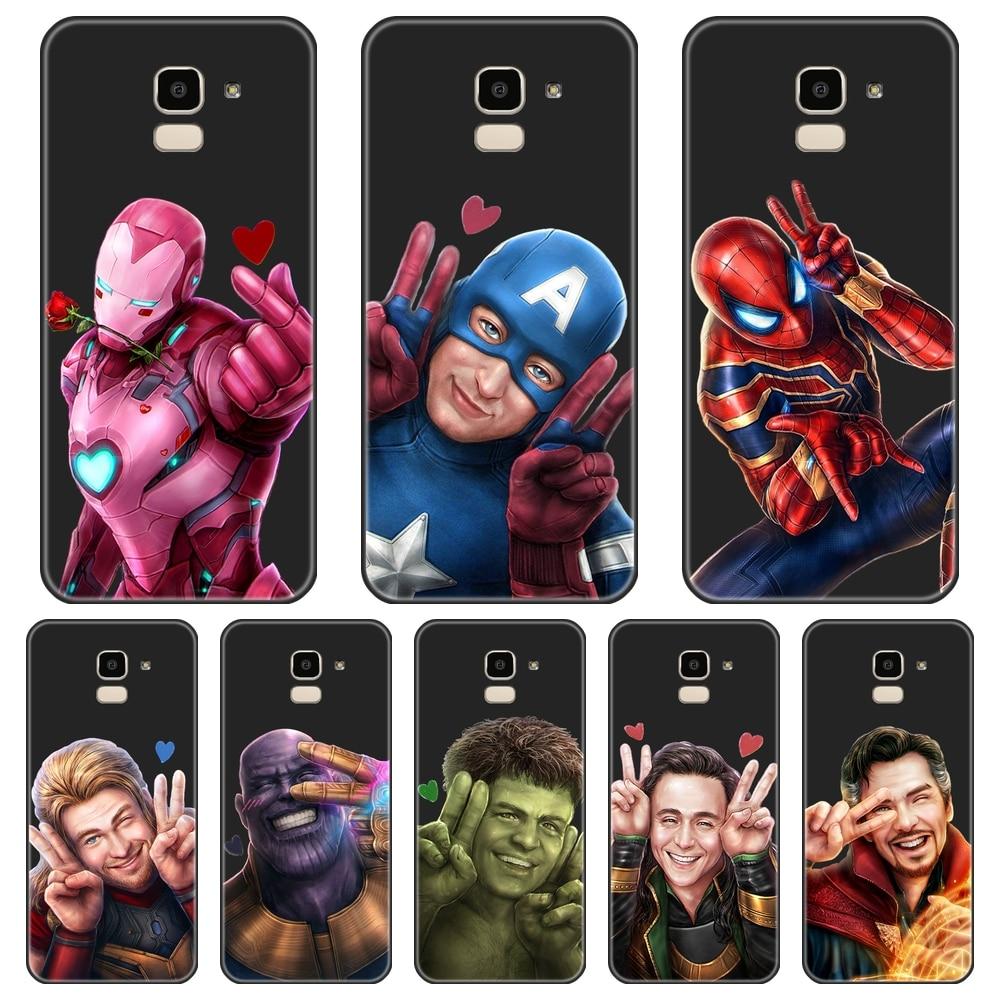 Cubierta posterior para Samsung Galaxy J3 J5 J7 2015 de 2016, 2017 Marvel de La caja del teléfono de silicona para Samsung J2 J5 J7 primer J4 J6 J8 Plus 2018