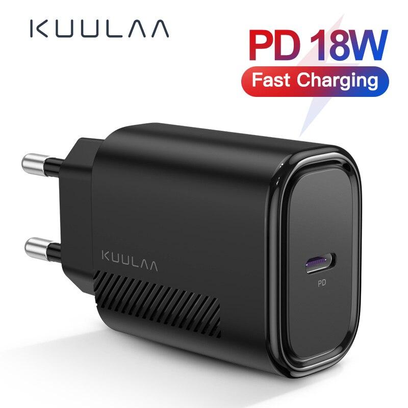 KUULAA PD cargador USB-C 18W QC 4,0 para Xiaomi Remi Nota 9 8 7 cargador rápido USB tipo C cargador de teléfono para iPhone 11 Pro Max XS XR