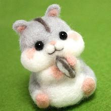 Ensemble de Hamster fait à la main   Feutre de laine Non fini fait à la main, bricolage pour sac en aiguille, Pokes modèles de Hamster, jouet amusant à la maison ATR
