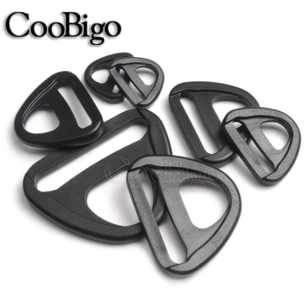 5 pces plástico preto 20mm 25mm 32mm 38mm 50mm giro clipe d-anel laço inserção fivela para mochila cinta cinto saco webbing peças