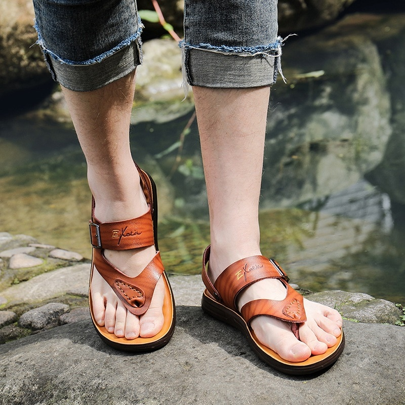 Männer Sommer Echtem Leder Flip-Flops Hausschuhe Strand Sandalen Casual Schuhe Mokassins Männer Sandalen Sommer ghn6