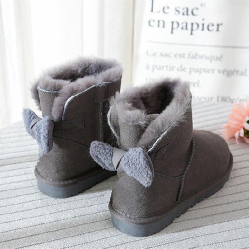 Pele de Carneiro para Mulheres Botas de Neve Pele de Carneiro Novo Estilo Real Inverno Clássico Mulher Genuína Botas Femininas Sapatos 2021