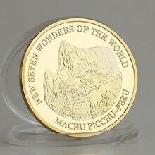 2017 christus Machu Picchu Peru Neue Sieben Wunder Der Welt Reissue Gold Überzogene Münze Sammlung Souvenir Geschenk