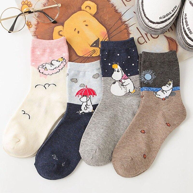 2019 новые осенние и зимние женские носки Mumin Moomin Бегемот японский мультфильм животных смешная средняя трубка обувь