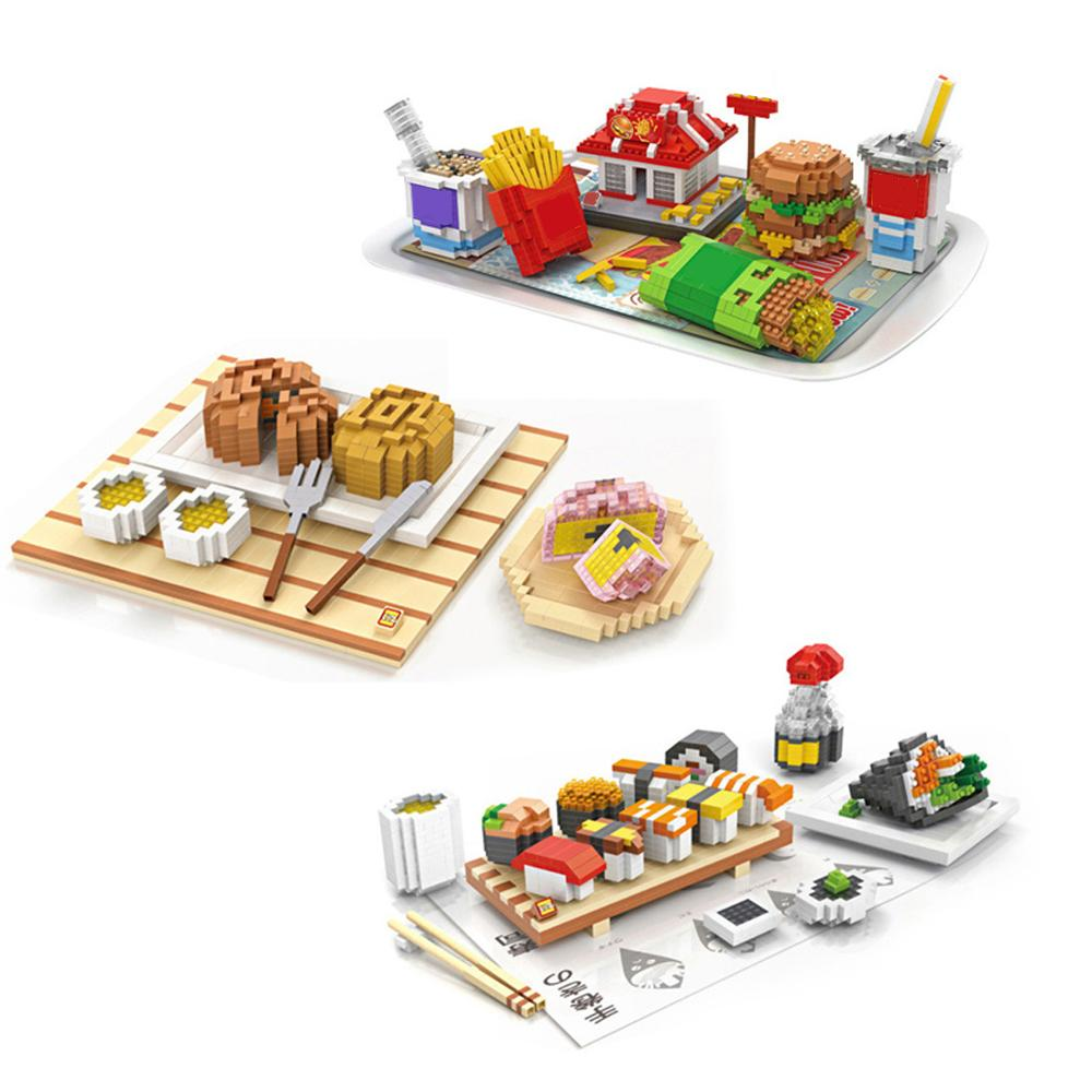 Caliente Lepining creadores clásico McDonald hamburguesa papas fritas francés Cola Sushi comida mini micro bloque de construcción de diamante ladrillos juguetes regalo