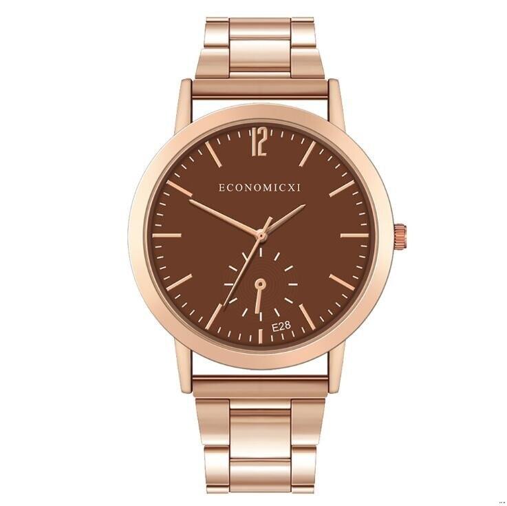 Деловые женские кварцевые часы, мужские водонепроницаемые часы из розового золота, ремешок из нержавеющей стали, простой цифровой цифербла...