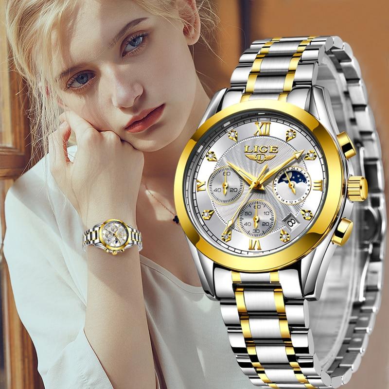 LIGE 2021 New Gold Watch Women Watches Ladies Creative Steel Women's Bracelet Watches Female Waterproof Clock Relogio Feminino