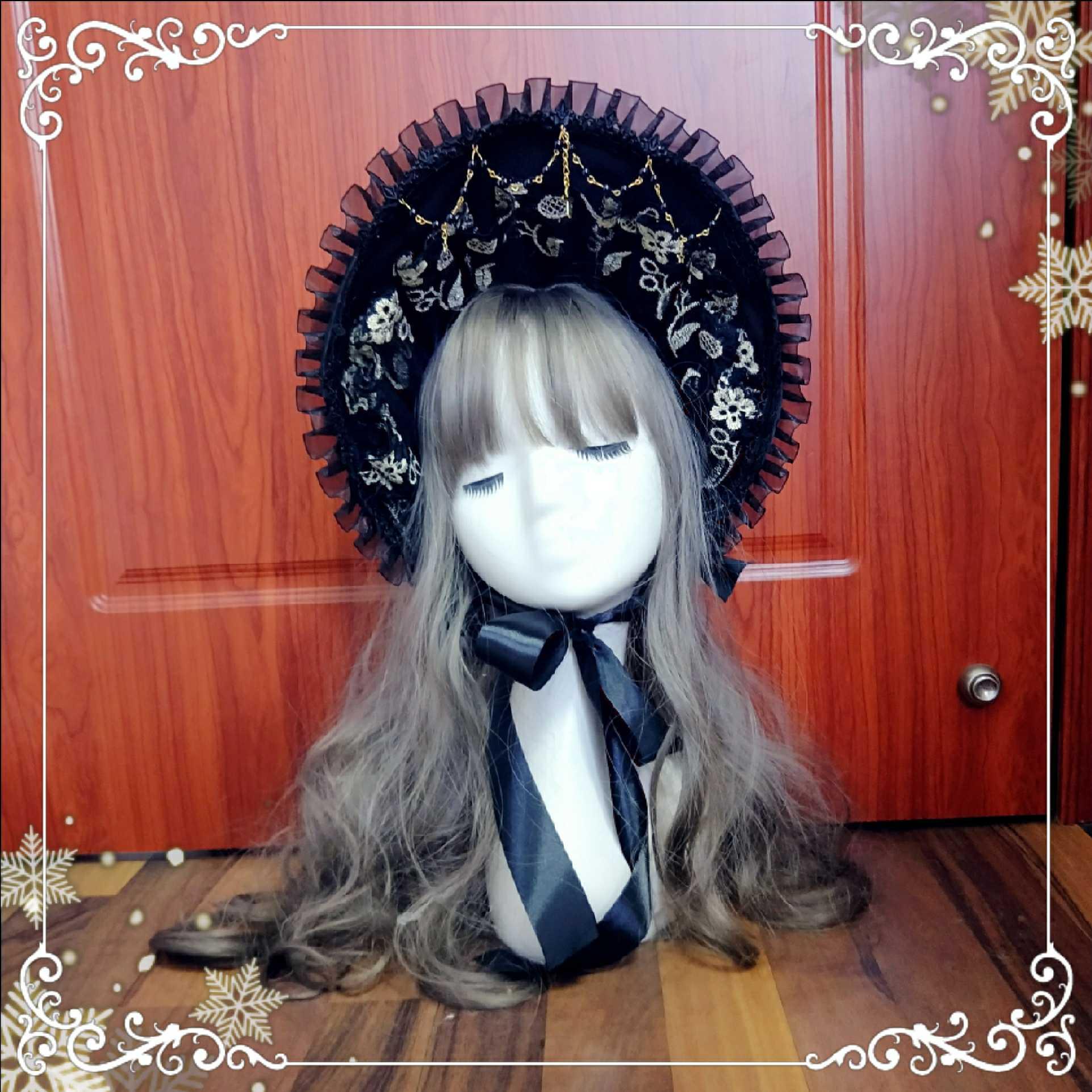 لوليتا غطاء الرأس الدانتيل bnt المحكمة قبعة القوطية الحلو لوليتا قبعة جمع kawaii فتاة إكسسوارات الشعر فتاة القوطية لوليتا تأثيري