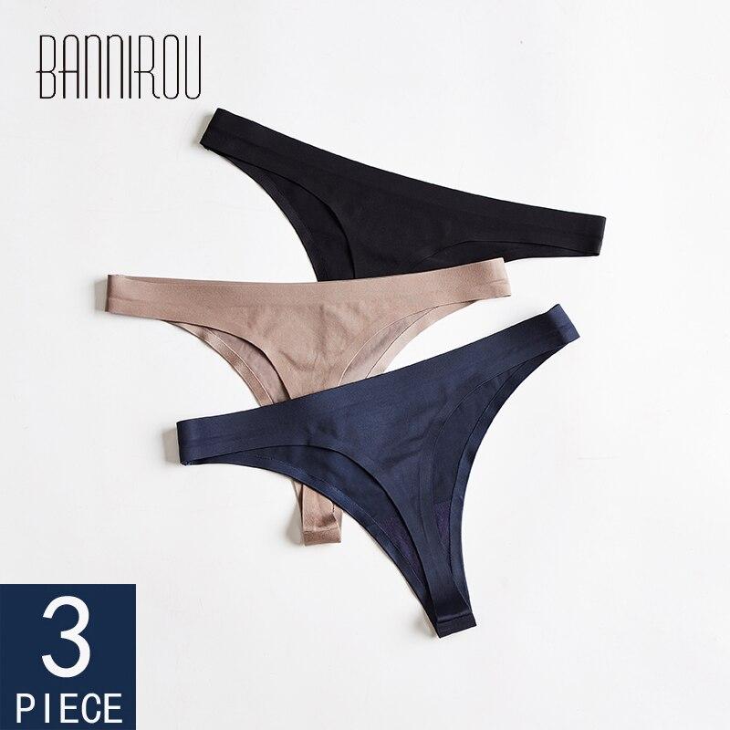 Frau Unterwäsche Sexy Nahtlose Sport Panty Weibliche T-zurück Solide Weiche G-string Tanga Für Frau Unterwäsche Eis Seide 3 pcs BANNIROU