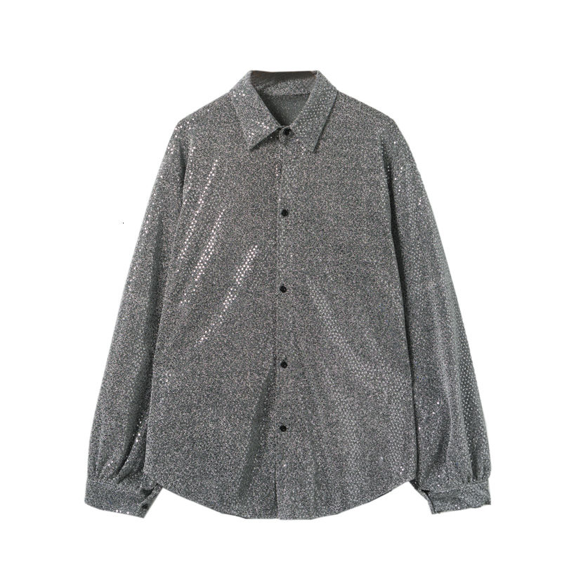 Summer Embroidered Sequin Casual Shirt Men Korean Fashion Loose Casual Shirt Men Streetwear Hip-hop Long-sleeved Shirt Men