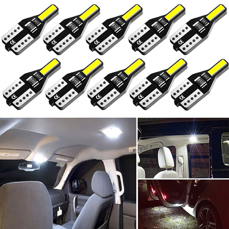 10Pcs W5W T10 LED Canbus Light Bulbs for vauxhall bmw f30 audi a3 a4 b8 audi a5 b8 golf mk7 ford mondeo mk4 vw mercedes w211