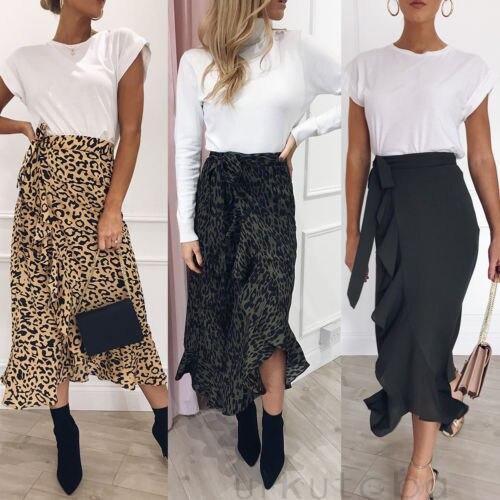 Nueva moda Boho mujer leopardo estampado Falda larga Maxi verano Split playa abrigo faldas de sol S-XL