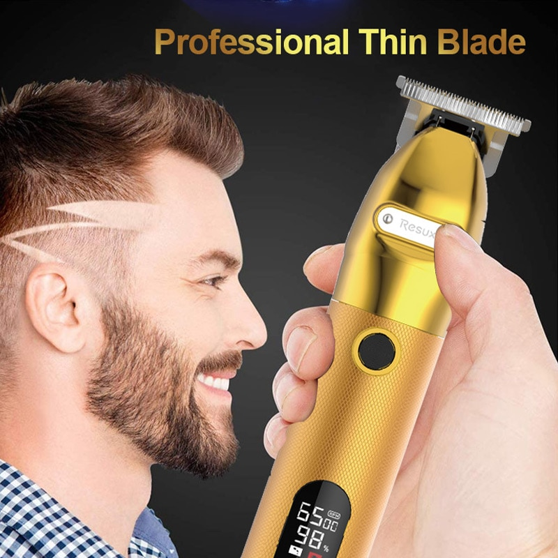 Professional Big Power Golden USB Rechargeable No Stuck Oil Head Hair Trimmer LED Display Barber Salon Cordless Hair Clipper enlarge