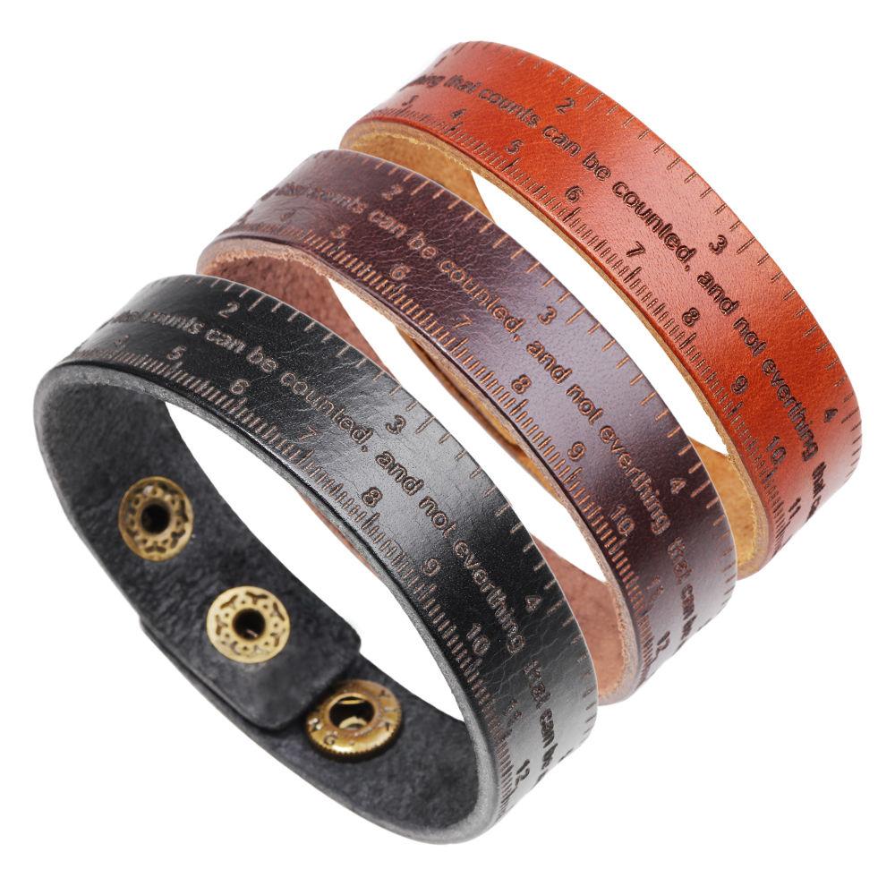 Vintage Cuff Leather Bracelet Rock Charm Bracelet Bangles Ruler Element English Letter Men Jewelry for Women Wholesale 2019 Hot