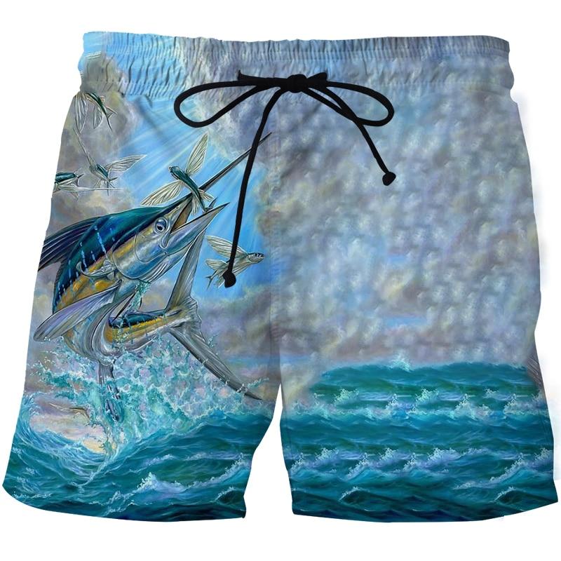 Мужские пляжные шорты, шорты для рыбалки, высокие прозрачные тропические рыбы, модные спортивные мужские шорты с 3D-принтом