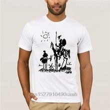 Picasso art painting men short sleeve t shirt 100% cotton funny Don Quixote knight top men homme