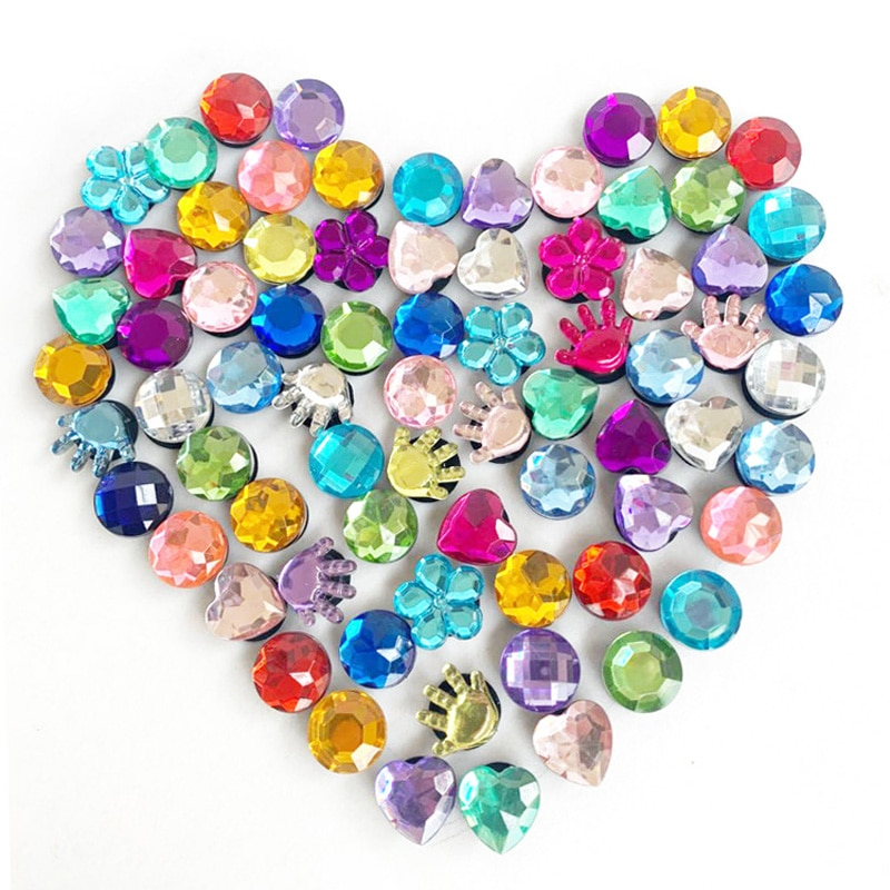 100pcs/Lot Heart Flower Crystal PVC Jibits for Shoe Charms for Holes on Shoes Bands ShoeBuckles Ornaments Bebes Accesorios Decor