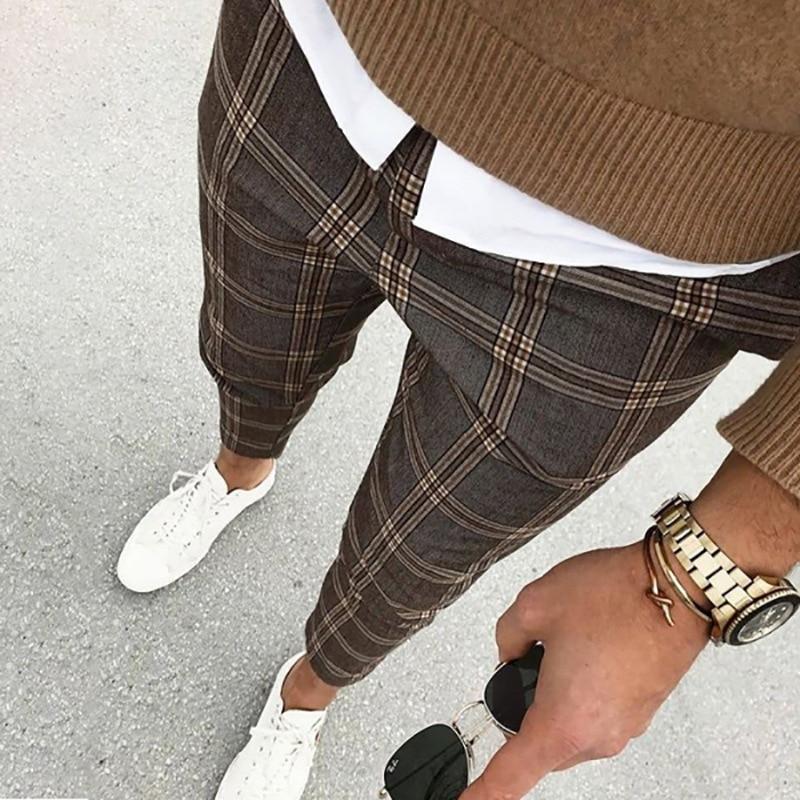 2021 Men's Casual Stretch Pants Men's Cotton Checked Gray Work Pants