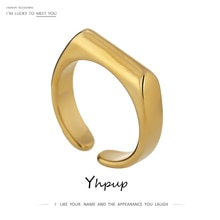 Yhpup charme anillos mujer jóias simples textura de metal 14 k banhado anel de afirmação bijoux femme acessórios presente aniversário 2020