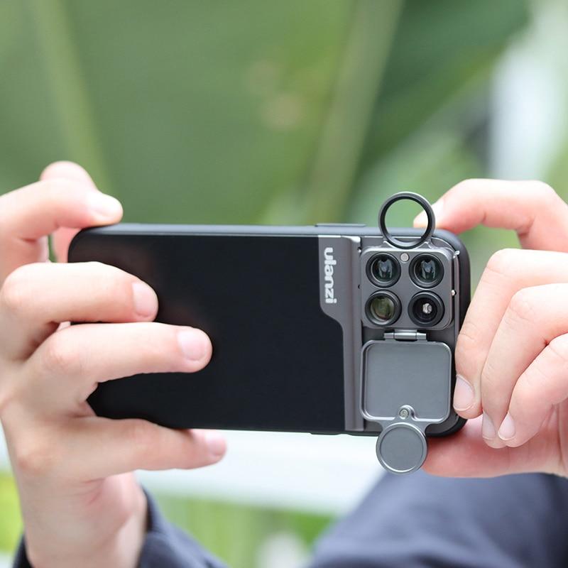 Ulanzi 5 en 1 Estuche para gafas de teléfono Kit 20X Lente Super macro CPL lente ojo de pez teleobjetivo para iPhone 11 Pro Max Pixel 4 4XL