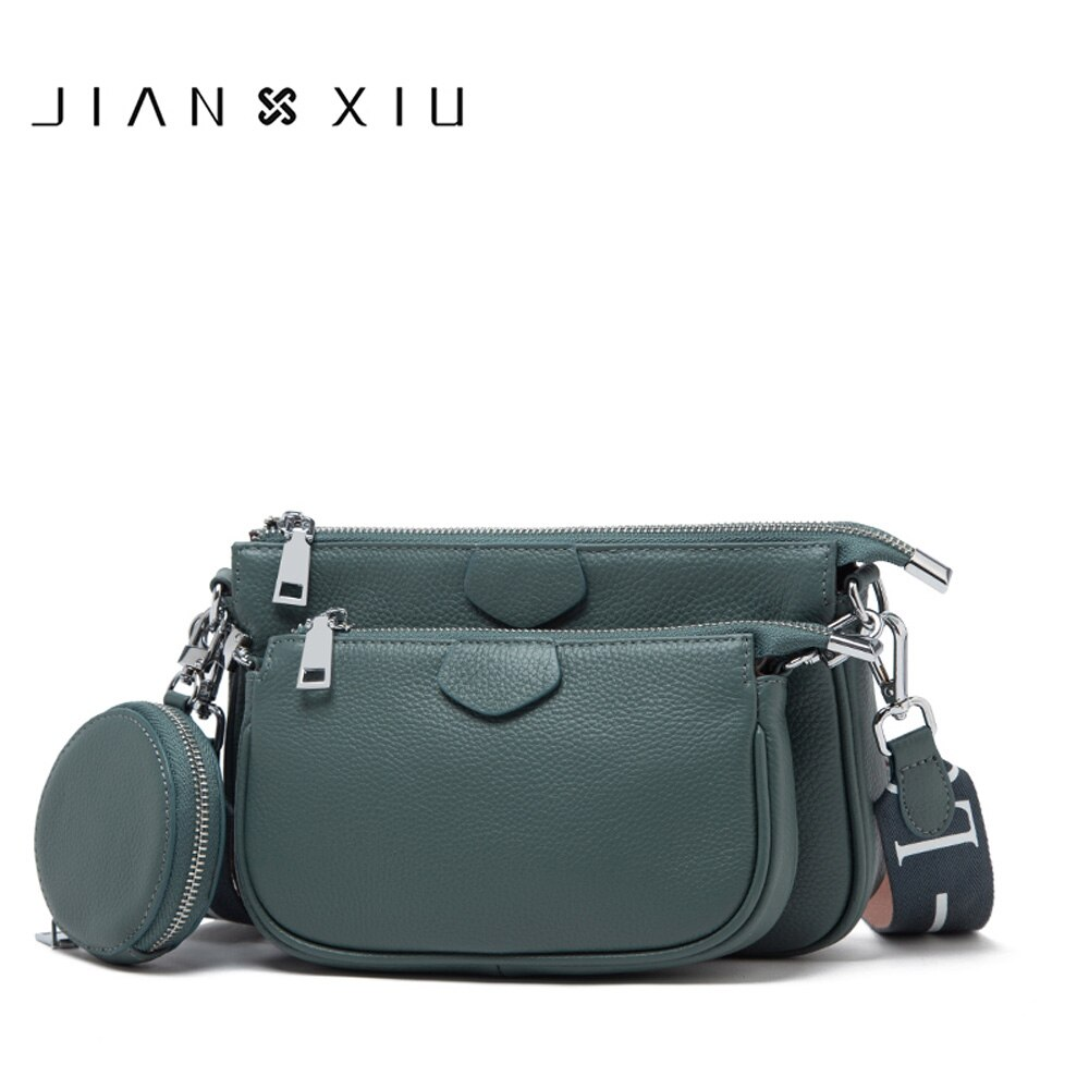 JIANXIU Brand Women Messenger Bags Soft Genuine Leather Three-piece Shoulder Bag Lychee Texture Pattern Purse 2020 Clutch Tote