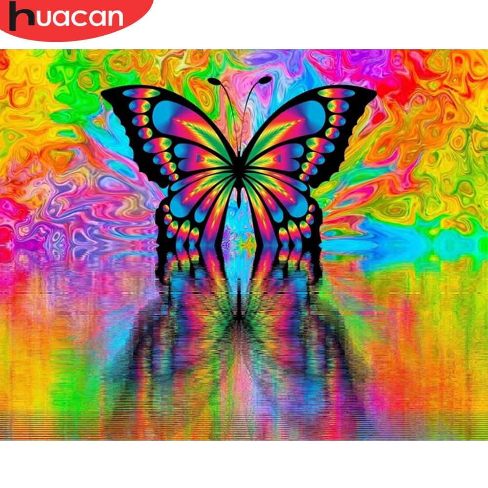 Cuadro HUACAN con número mariposa pintura al óleo Animal pintado a mano acrílico sobre lienzo DIY arte de pared regalo decoración del hogar