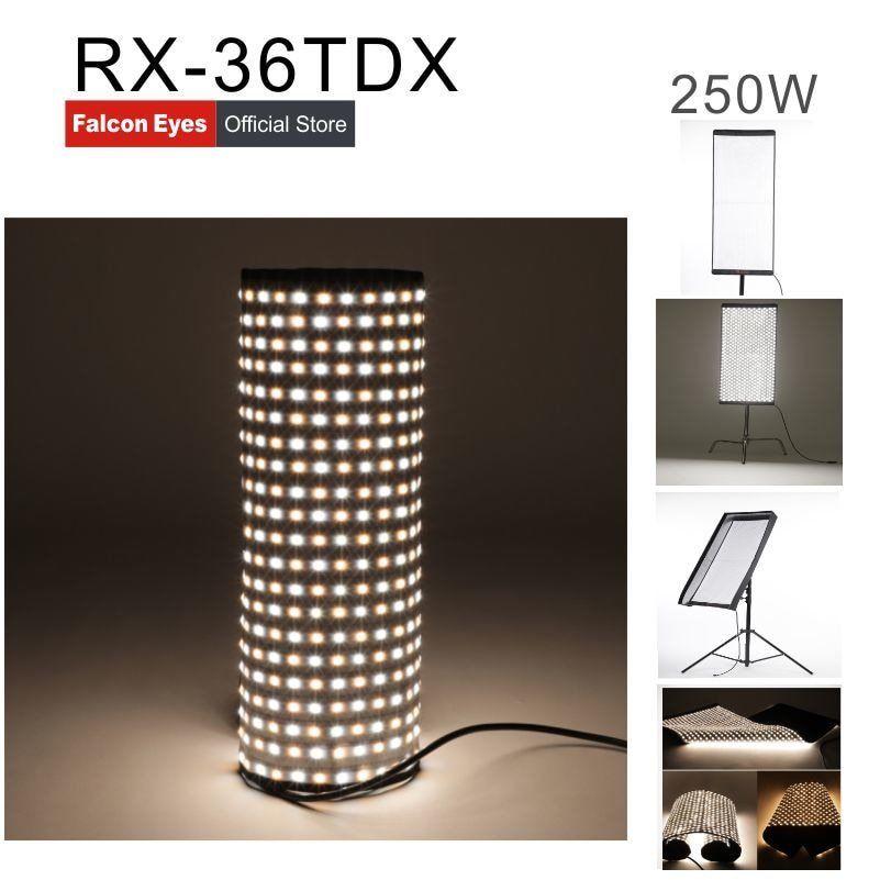 Falcon Eyes RX-36TDX Flexible Rollable Cloth LED Fill-in Light Lamp Studio Video Lighting Panel 250W Bi-Color 3000K-5600K