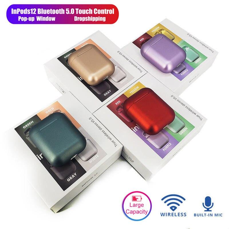i12 Tws Bluetooth Headphones Wireless Earphones Handsfree Sports Earbuds For Iphone Xiaomi Redmi Samsung Metal Headset Hifi Case