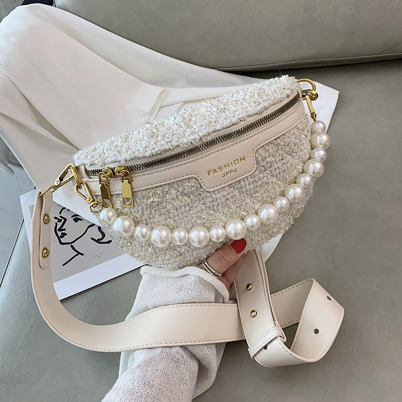 Pearl Designer MINI Woolen cloth Crossbody Bags For Women 2021 Winter Shoulder Handbags Female Travel Branded Trending Hand Bag