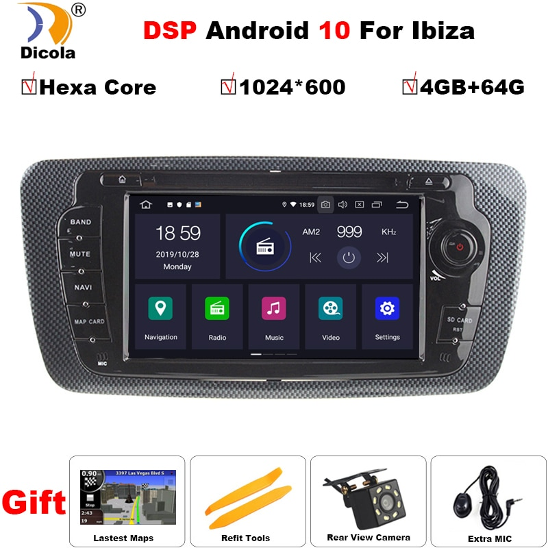 PX6 DSP Android 10 voiture DVD Radio pour siège Ibiza 6j 2009 2010 2012 2013 GPS Navigation 2 Din écran radio Audio lecteur multimédia