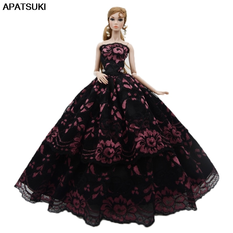 Black Pink Flower Wedding Dress For Barbie Doll Outfits Clothes Princess Party Gown For 1/6 BJD Dolls Accessories Toys