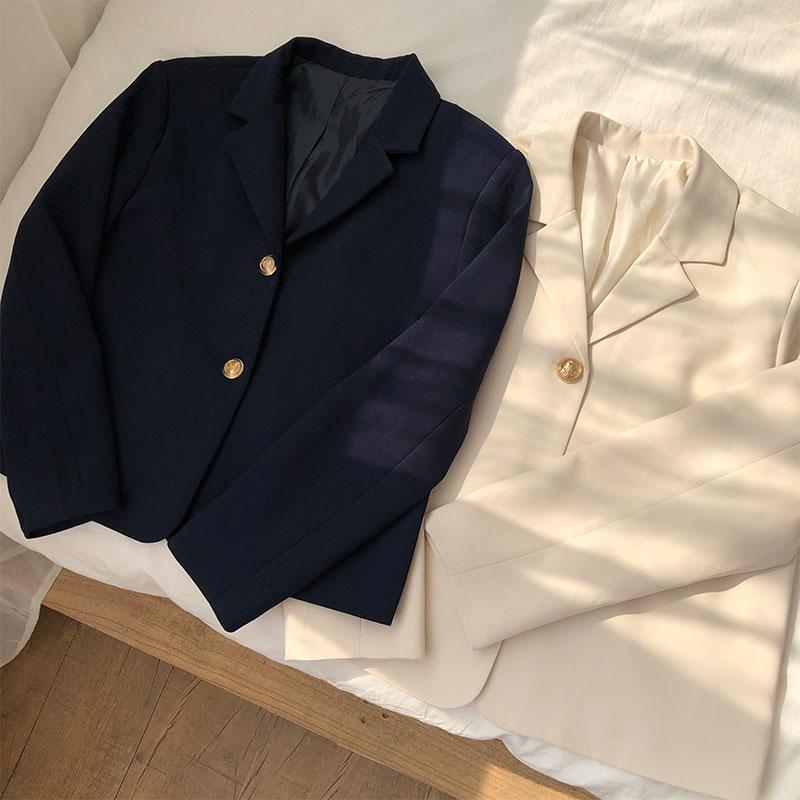 2 colores estilo coreano breif manga larga color sólido beige blazer mujer chaqueta y abrigos cuello en v Chaqueta corta Mujer (X1056)